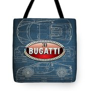 Bugatti 3 D Badge Over Bugatti Veyron Grand Sport Blueprint  Tote Bag by Serge Averbukh