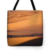 Camel Caravan Crosses The Dunes Tote Bag