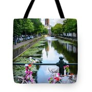 Canal And Decorated Bike In The Hague Tote Bag