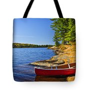 Canoe On Shore Tote Bag