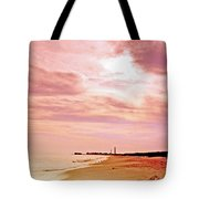 Cape May New Jersey, Sunset With Lighthouse In The Distance Tote Bag