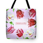 Card With Tulips And Peonies Tote Bag