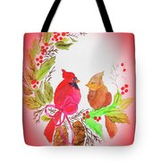 Cardinals Painted By Linda Sue Tote Bag