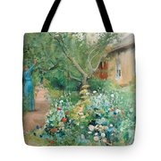 Carl Larsson, Garden Scene From Marstrand On The West Coast Of Sweden. Tote Bag
