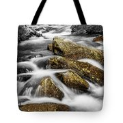 Cascading Water And Rocky Mountain Rocks Tote Bag