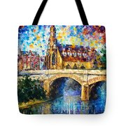 Castle By The River - Palette Knife Oil Painting On Canvas By Leonid Afremov Tote Bag
