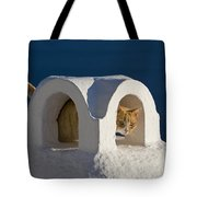 Cat On A Roof, Greece Tote Bag