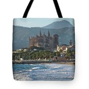 Cathedral And City Beach With People  Tote Bag