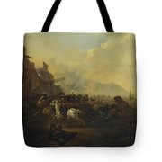 Cavalry Attacking A Fortified Place Tote Bag