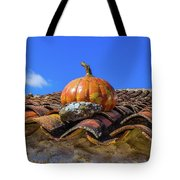 Ceramic Pumpkin On A Roof Tote Bag