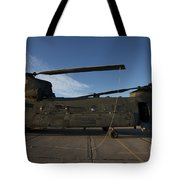 Ch-47 Chinook Helicopter On The Tarmac Tote Bag