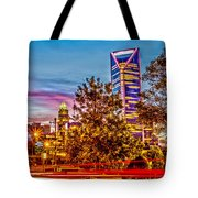 Charlotte City Skyline Early Morning At Sunrise Tote Bag