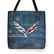 Chevrolet Corvette 3 D Badge Over Corvette C 6 Z R 1 Blueprint Tote Bag