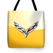 Chevrolet Corvette 3d Badge On Yellow Tote Bag