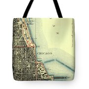 Chicago Old Map Tote Bag
