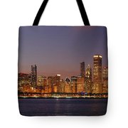 Chicago Skyline At Dusk Panorama Tote Bag
