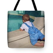 Child In A Denim Suit Sits Tote Bag