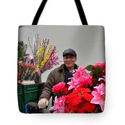 Chinese Bicycle Flower Vendor On Street Shanghai China Tote Bag