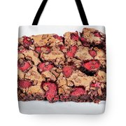 Chocolate Cake With Strawberry On Porcelain Plate Tote Bag