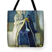 Christ And His Mother Studying The Scriptures Tote Bag