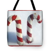 Christmas Candy Canes On Real Snow Tote Bag