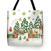 Christmas Picture In Green And Yellow Colours Tote Bag
