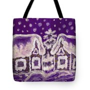 Christmas Picture On Crimson Background Tote Bag