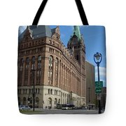 City Hall And Lamp Post Tote Bag