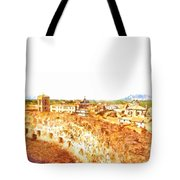 Cityscape With Wall And Mountain Tote Bag