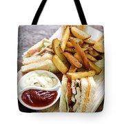 Classic Club Sandwich With Fries On Wooden Board Tote Bag