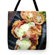 Classic  Italian Chicken Parmigiana With Cheese And Tomato Sauce Tote Bag