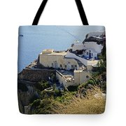 Cliff Perched Houses In The Town Of Oia On The Greek Island Of Santorini Greece Tote Bag