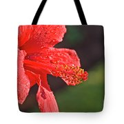 Close Up Of A Red Hibiscus Tote Bag