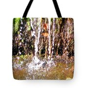 Close Up Of Waterfall Flowing Over Rocks  Tote Bag