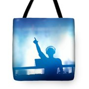 Club Dj Playing And Mixing Music For People Tote Bag