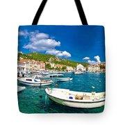 Coastal Town Of Hvar Waterfront Panorama Tote Bag