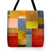 Color Panels With Green Grass Tote Bag