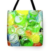 Colored Glass Beads On White Background Tote Bag