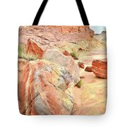 Colorful Boulders In Wash 3 In Valley Of Fire Tote Bag