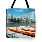 Colorful Outrigger Canoes Tote Bag