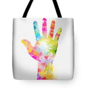 Colorful Painting Of Hand Tote Bag