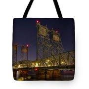 Columbia Crossing I-5 Interstate Bridge At Night Tote Bag