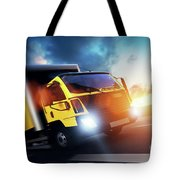Commercial Cargo Delivery Truck With Trailer Driving On Highway At Sunset. Tote Bag