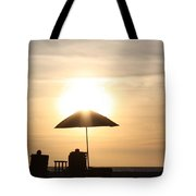 Couple On The Beach At Sunset Tote Bag