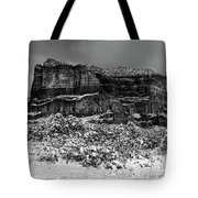 Courthouse Butte And Bell Rock Under Snow Tote Bag
