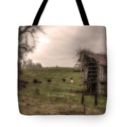 Cows In A Field By A Barn Tote Bag