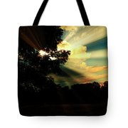 Cumulus Cloud At Dusk, Tree Silhouettes Tote Bag