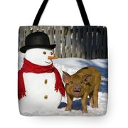 Curious Piglet And Snowman Tote Bag