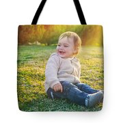 Cute Baby Boy Outdoors Tote Bag