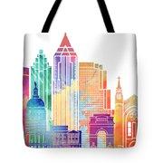 Atlanta Landmarks Watercolor Poster Tote Bag